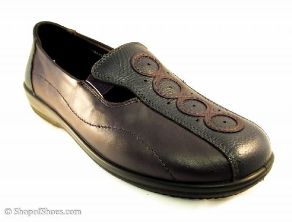 Adora dual fit Padders EE/EEE wide fit popular casual Navy and Chianti leather shoe.